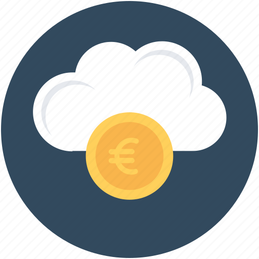 cloud computing, euro, online business, online money, online work icon