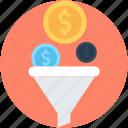 dollar, economy, funnel, market, money filter icon