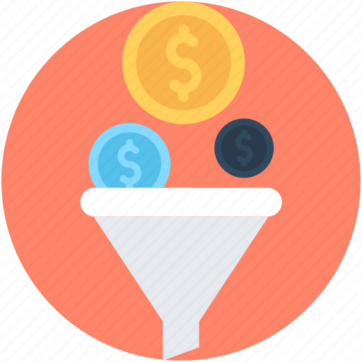 dollar, economy, funnel, market, money filter icon
