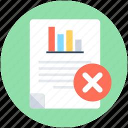 cancel document, delete file, file, graph report, remove file icon