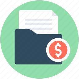 analysis, business document, business report, dollar, financial report icon