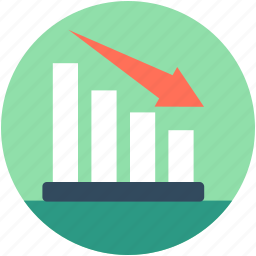 analytics, business loss, descending graph, loss chart, loss graph icon