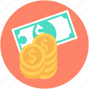 banknote, coins, currency, dollar, finance icon