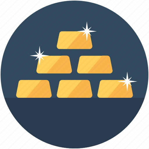 gold bars, gold bricks, gold ingots, gold pile, gold reserve icon