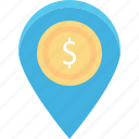 bank location, dollar, location pin, map locator, map pin