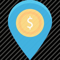 bank location, dollar, location pin, map locator, map pin icon