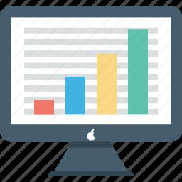 analytics, diagram, infographics, monitor, online graphs icon