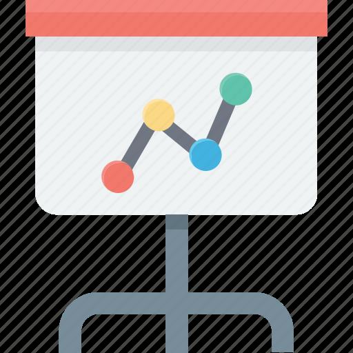 business presentation, chalkboard, easel, graph presentation, presentation icon