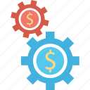 cogs, customize, dollar, gear, setup icon