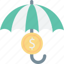 coins, financial, insurance, umbrella, wealth