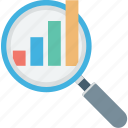 analytics, infographic, magnifier, magnifying lens, search graph icon