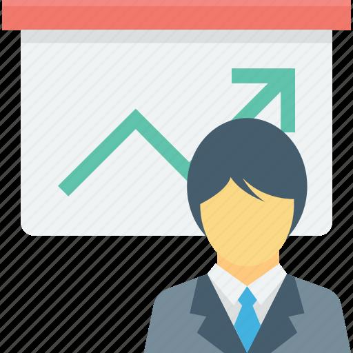 bar graph, business presentation, easel board, graph presentation, presentation icon