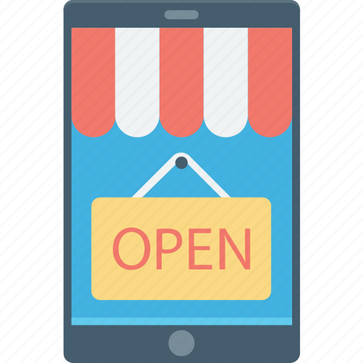 Hanging sign, m commerce, mobile shopping, open sign, shop sign icon - Download on Iconfinder