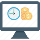 business expand, business growth, dollar, investment, investment time, online investment icon