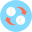 currency, currency exchange, dollar exchange, euro, money exchange icon