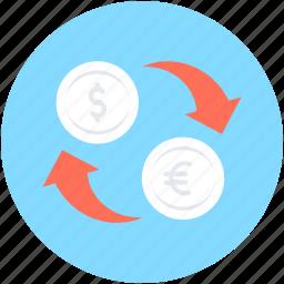 currency, currency exchange, dollar exchange, euro, money exchange icon