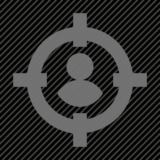 aim, goal, shooting target, target person icon