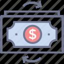 cash flow, cash transaction, financial flow, moneyflow, payment method icon