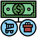 arrows, business, cash, currency, directions, economy, finance, flow, investment, money, notes icon