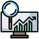 analytics, education, glass, magnifying, marketing, research, search, study, zoom icon
