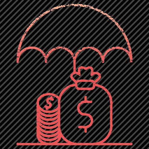 funds, market & economics, money, protection, save, umbrella icon