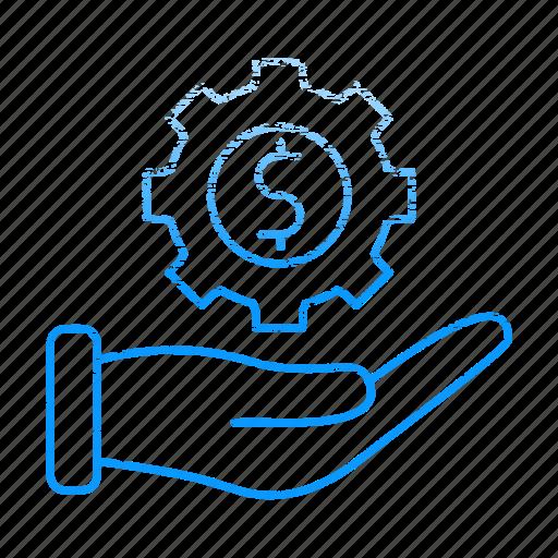 gear, hand, making, market & economics, money icon