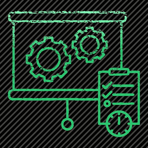 gear, market & economics, note, planning, schedule, timer icon