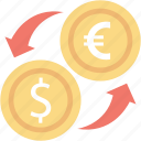bank, banking, coins, euro, exchange, financial, stack icon