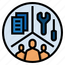 company, department, employee, base on division of labour, market economy icon