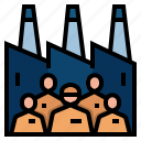 employee, factory, labor, manufacturer, workers, market economy icon