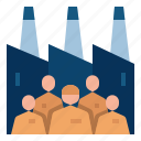 employee, factory, labor, manufacturer, market economy icon