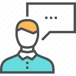 bubble, chat, dialog, man, manager, message, speech, talk icon