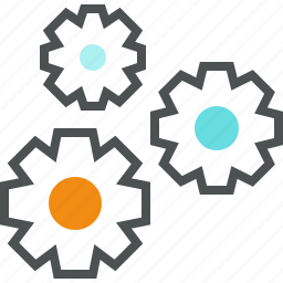 cogwheel, engineering, gear, mechanism, process, production, teamwork icon