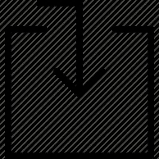arrow, download, guardar, inside, save icon