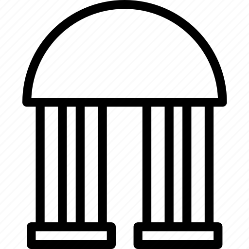 bank, building, old, pillars icon