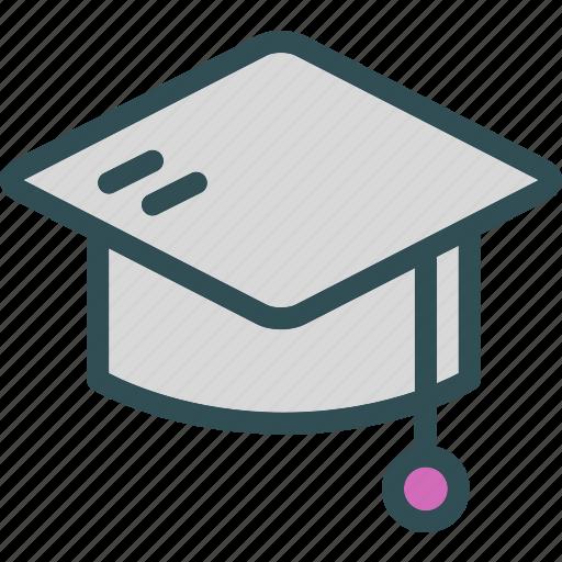 education, graduate, hat, student icon