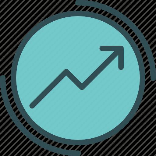 circle, increase, market, marketing, valor icon