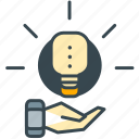 business, creative, hand, idea, lightbulb, marketing icon