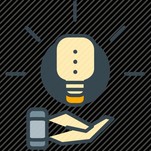 business, creative, hand, idea, lightbulb, marketing icon