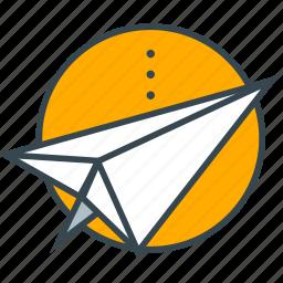 aeroplane, circle, direct, marketing, paper icon