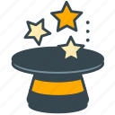 hat, magic, marketing, show, stars, tool, wizard icon
