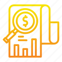 analytics, dollar, paper icon