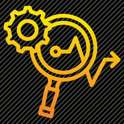 analysis, arrow, focus, gear, loop, marketing, marketing icon icon