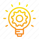 flame, gear, lamp, light, management, project icon