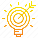 arrow, goal, idea, light, marketing, marketing icon, target
