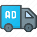ad, advertising, marketing, paid, road, street, truck icon