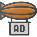 ad, advertising, air, airship, marketing icon