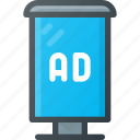 ad, advertising, bus, marketing, stop, street icon