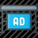 ad, advertising, bus, marketing, stop, street icon