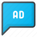 ad, advertising, marketing, message, online icon